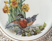 Vintage Lenox Bird Plate - Robin - Edward Marshall Boehm - 24 K Gold Collectible - Porcelain