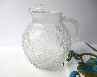 Vintage Anchor Hocking Lido Clear Large Retro Pitcher