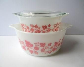 Vintage Pyrex Pink Gooseberry Casserole Pair 1.5 Qt 1.5 Pt