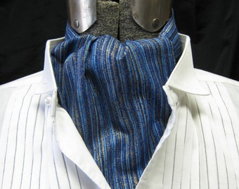 blue striped ASCOT Steampunk Victorian Gothic gentlemans pure Cotton cravat tie jabot gold accents one size plus size unisex