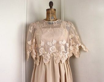 champagne + lace, vintage 1980s Summer Halter Dress with Lace Overlay - size small