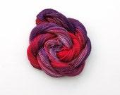 Hand dyed cotton perle 5 embroidery thread, 20 metre (22 yard) skein - purple, pink, violet, mauve, fuchsia, honeysuckle crochet yarn