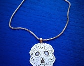 Sugar Skull Pendant Calavera Sterling Silver Dia De Los Muertos Mexican Folk Art Unisex Statement Necklace