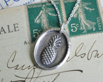 pineapple wax seal necklace pendant … hospitality - sterling silver wax seal jewelry