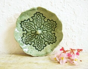 Ring Holder Trinket Dish Ring Catcher Bowl, Stoneware Pottery, Jewelry Holder Grayed Jade Sage Green Lace Doily