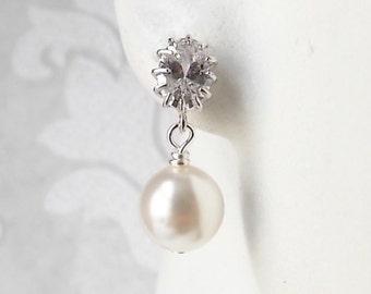 Small Pearl Drop Earrings - Dainty Bridal Jewelry - Classing Modern Wedding Jewellery