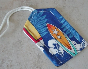 Luggage IDTag, Surfboard Tropical Print Fabric, Blue, Yellow