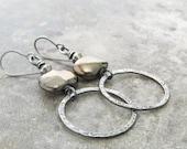silver metalwork earrings, rustic silver earrings, oxidized boho rings earrings