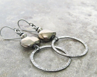 silver metalwork earrings, rustic silver earrings, oxidized boho rings earrings