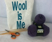 Wool is Me, knitting bag, yarn bag, knitters travel bag, sock yarn bag, knitting socks bag, free shipping, knitting bag, knitting travel bag