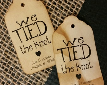We Tied the Knot 100 MEDIUM SIZE Tags Personalize with date