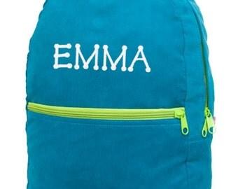 Toddler Backpack Personalized Teal Corduroy Monogrammed Preschool Girl Boy