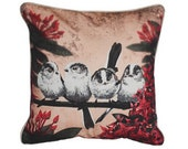XL Cushion cover for throw pillow with bird - Long-tailed Titmouse - 24x24inch // 60x60cm
