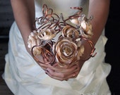 Vintage Style Bridal Bouquet: Copper, Flower and Twined Crystal Arrangement