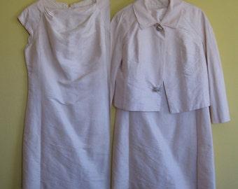White Silk Dress with jacket  . 60s Jacket Silk Dress .  Wedding Dress with Jacket . Dupioni Silk Jacket Dress .  L / XL Plus Size