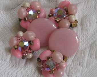 pink earring lot . retro earrings . Lot of Three Pink Retro Earrings . Lot of 3