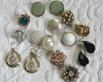 Lot of 16  . Single Earrings 50s-70s . Destash Earrings . single earring lot