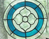 Round Stained Glass Panel, Beveled Victorian Flower with Aqua Blue Border