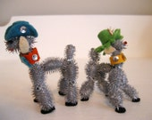Vintage Kitchy Nettle and Felt Hand Made Animals Dogs Horses Cute!