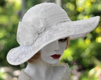 Bridal Hat, Wide Brim Summer Hat, Formal Hat, Garden Party Hat, Tea Party Hat,Race Hat, Lace Hat, Downton Abbey Hat,Special Occasion Hat