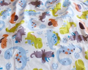 4018 - Dinosaur Cotton Jersey Knit Fabric - 66 Inch (Width) x 1/2 Yard (Length)