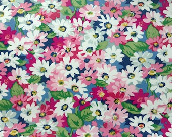 4019 - Cath Kidston Painted Daisy (Dark Blue) Oilcloth Waterproof Fabric - 28 Inch (Width) x 17 Inch (Length)