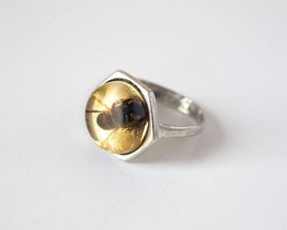 bee ring silver bee jewelry honeybee ring real insect