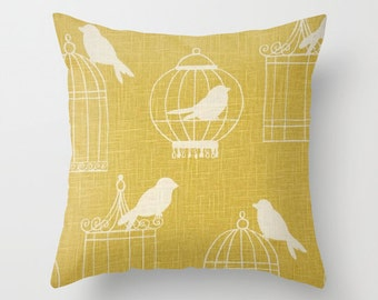 Birdcage Pillow Cover Yellow Pillow Linen Pillow Bird Pillow 8 Sizes Available Cushion cover