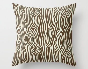 Decorative Pillow Cover Brown Pillow Cover Rustic Pillow Wood Grain Pillow