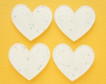 6 pcs Big Acrylic White Glitter Heart Plate / Cabochon (40mm45mm) IK145