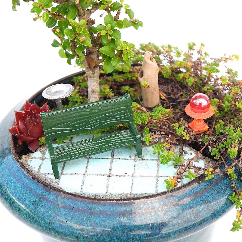 tiny miniature garden set with bench gazing ball birdbath. Black Bedroom Furniture Sets. Home Design Ideas