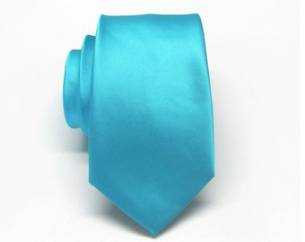 Turquoise Ties. Narrow 2.75 Inches Wide Mens Neckties. Wedding Ties. Teal Blue Turquoise Narrow Slim Tie With Matching Pocket Square Option