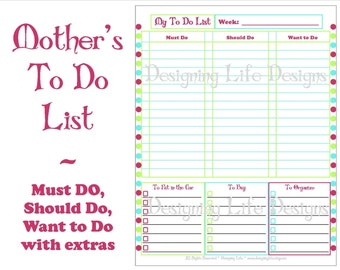 Mother's To Do List - Priotize and Plan Checklist