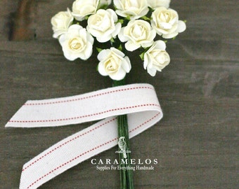 36 Miniature Ivory Paper Roses Flowers