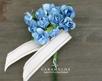 36 Miniature Powder Blue Paper Roses