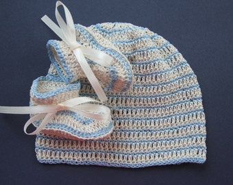 Crochet Baby Boy or Girl Hat and Booties Knit Infant Cap and Crib Shoes Handmade Newborn Beanie Socks Reborn Doll Hat and Booties Set