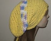 Cotton Extra Long Slouchy Beanie Dread Tam Hat Yellow with lavendar mix stripes