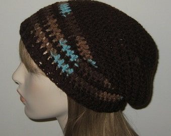 Dark Brown Slouchy Beanie Crochet Hat/Dread Tam with Earth and Sky