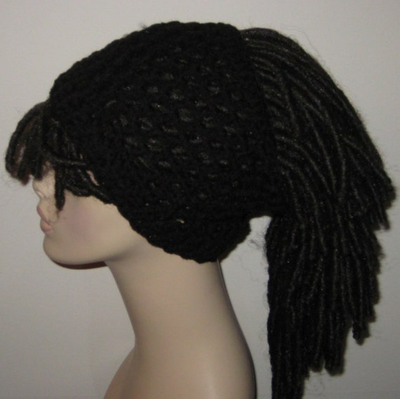 Black Crochet Dread Tube/Dread Sock/Dreadband by DeniseBlack