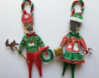 German Shepherd CHRISTMAS ornaments UGLY SWEATER dog ornaments vintage style chenille ornaments set of 2
