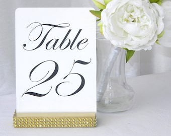 Table Number Holder + Gold Wedding Table Number Holders with Gold rhinestone wrap (5inch) Set of 10