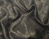 Silk Jacquard Fabric - CHOCOLATE BROWN Leaves Scroll - 1/3 Yard