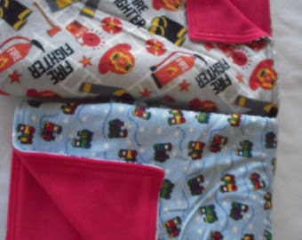 Fire Fighter or Train  Baby/Toddler Nap Blanket
