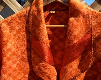 Vintage BEACON ROBE All Cotton Ladies Red Orange Large