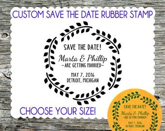 Save the Date Wedding Custom rubber stamp with Laurel Wreath - Personalized, Customized - Handmade by Blossom Stamps