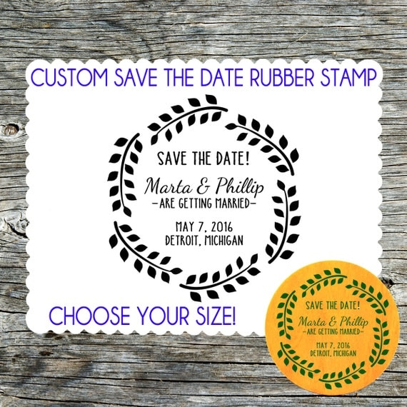 Save the date wedding custom rubber stamp with laurel wreath for Wedding dress rubber stamp
