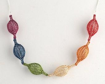 Rainbow Pride necklace - rainbow necklace - gay necklace - love necklace - Pride necklace - wire crochet necklace - lgbt necklace