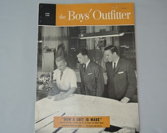 June 1958 'The Boys' Outfitter' trade magazine for clothing shops, vintage boy's clothing, ads, business