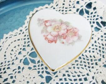 vintage heart, trinket box, ring box, wild rose pattern, gerold bavaria, west germany