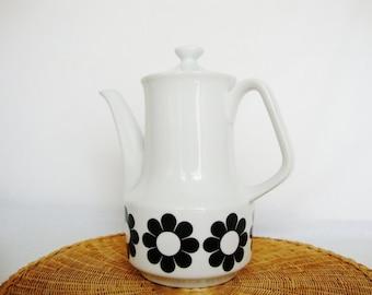 vintage ceramic tea pot mod 1970s black and white daisy